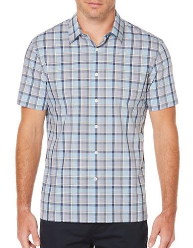 Perry Ellis Colorblock Poplin Shirt-BLUE-Small