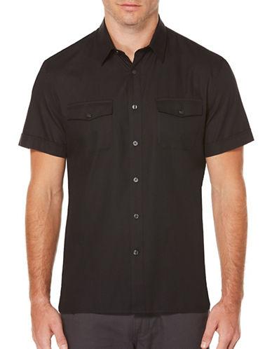 Perry Ellis Iridescent Woven Shirt-BLACK-Medium