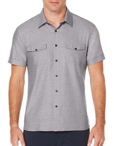 Perry Ellis Iridescent Woven Shirt-CHARCOAL-Medium