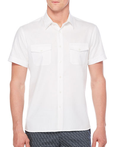 Perry Ellis Iridescent Woven Shirt-WHITE-Large