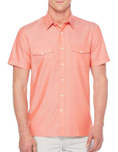 Perry Ellis Iridescent Woven Shirt-ORANGE-X-Large