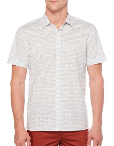 Perry Ellis Geo Print Woven Shirt-WHITE-Small