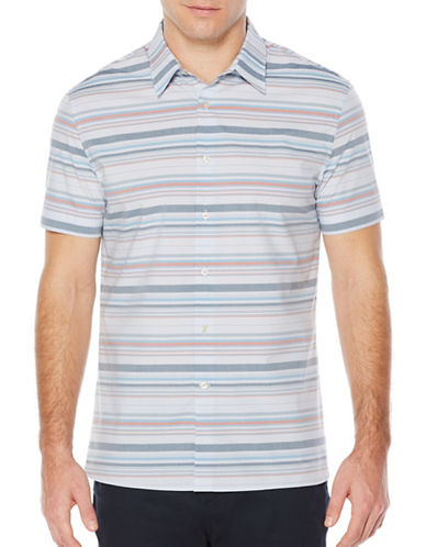 Perry Ellis Horizon Stripe Shirt-BLUE-X-Large