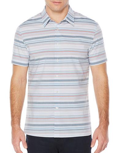 Perry Ellis Horizon Stripe Shirt-BLUE-Large