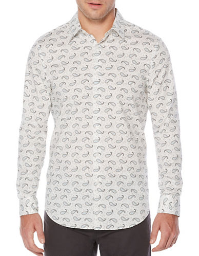 Perry Ellis Paisley Printed Woven Shirt-WHITE-Large