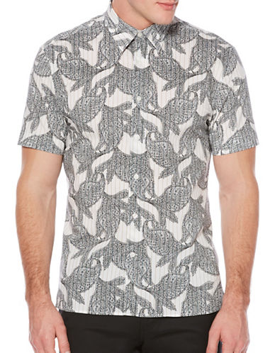 Perry Ellis Leaf Printed Woven Shirt-WHITE-4X Tall