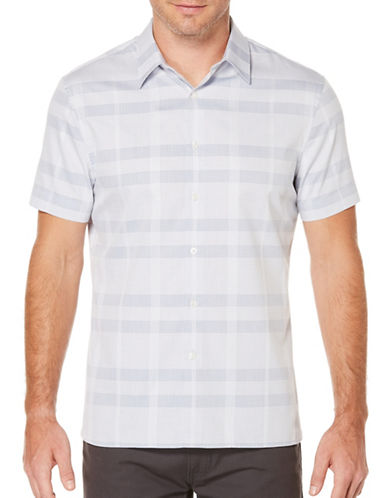 Perry Ellis Plaid Woven Shirt-GREY-3X Tall