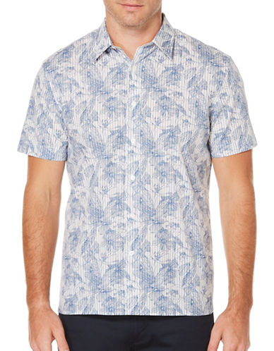 Perry Ellis Floral Sketch Shirt-WHITE-Large