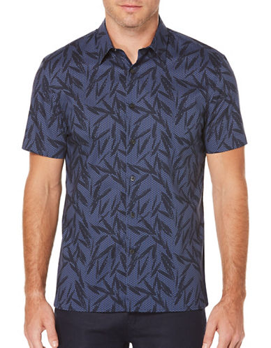 Perry Ellis Tropical Leaves Shirt-GREY-2X Big
