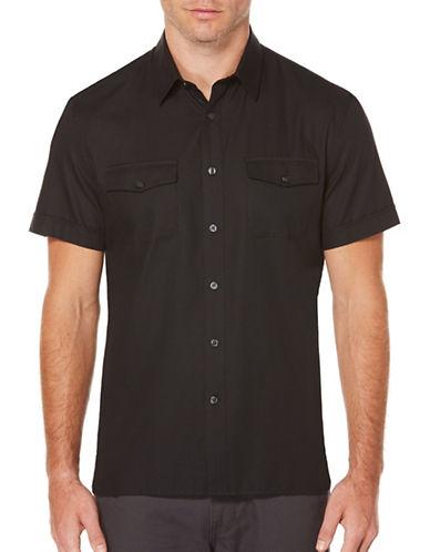 Perry Ellis Solid Woven Shirt-BLACK-X-Large 89125077_BLACK_X-Large