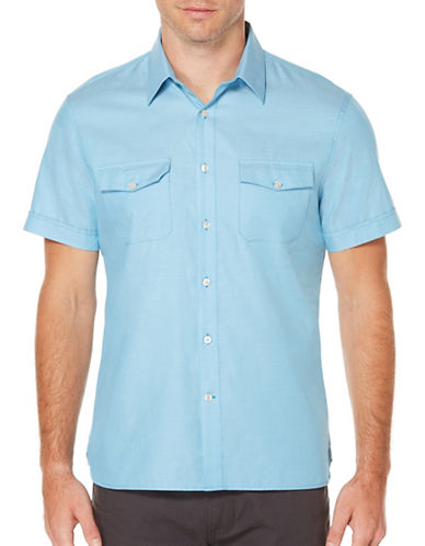 Perry Ellis Solid Woven Shirt-BLUE-2X Tall