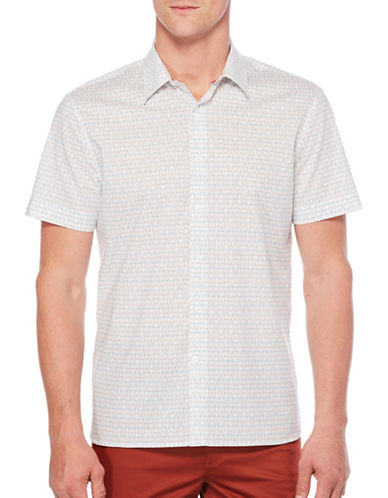 Perry Ellis Interlocking Rectangle Shirt-WHITE-3X Tall