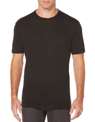 Perry Ellis Big and Tall Crew Neck Linen Tee-BLACK-4X Tall