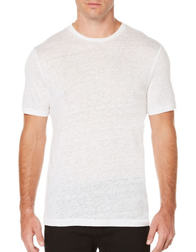 Perry Ellis Big and Tall Crew Neck Linen Tee-WHITE-X-Large