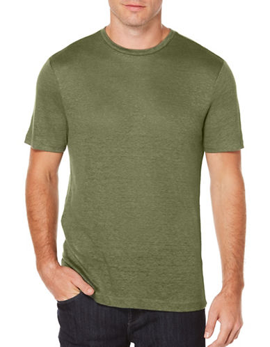 Perry Ellis Big and Tall Crew Neck Linen Tee-GREEN-4X Big