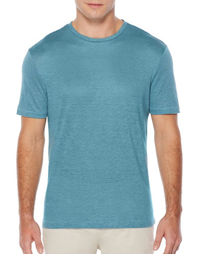 Perry Ellis Big and Tall Crew Neck Linen Tee-BLUE-3X Tall