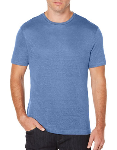Perry Ellis Big and Tall Crew Neck Linen Tee-BLUE-X-Large