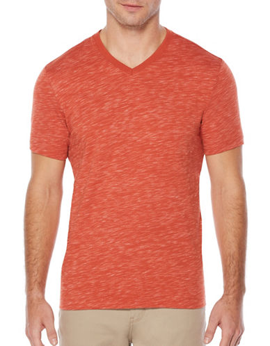 Perry Ellis V-Neck Space Dye T-Shirt-ORANGE-X-Large