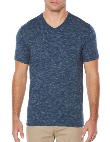 Perry Ellis V-Neck Space Dye T-Shirt-BLUE-X-Large