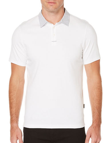 Perry Ellis Pima Cotton Blend Polo-WHITE-Medium