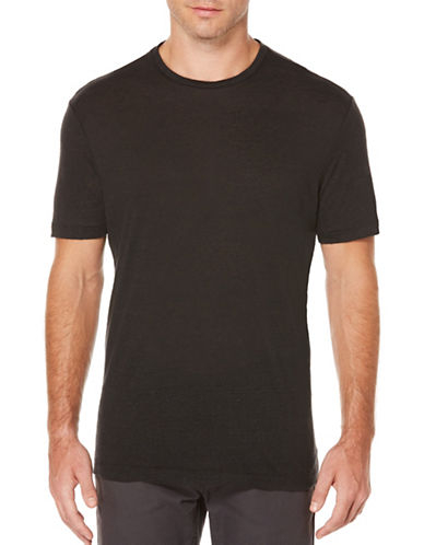 Perry Ellis Short Sleeve Linen Tee-BLACK-X-Large 89136051_BLACK_X-Large
