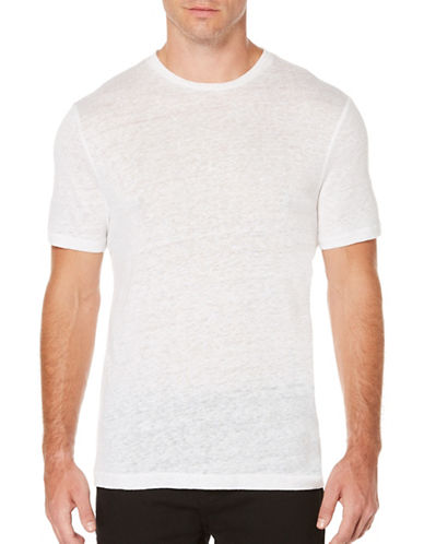 Perry Ellis Short Sleeve Linen Tee-WHITE-X-Large 89145506_WHITE_X-Large