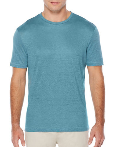 Perry Ellis Short Sleeve Linen Tee-BLUE-X-Large 89145511_BLUE_X-Large