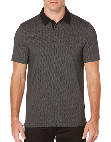 Perry Ellis Short Sleeve Jacquard Polo-CHARCOAL-Medium