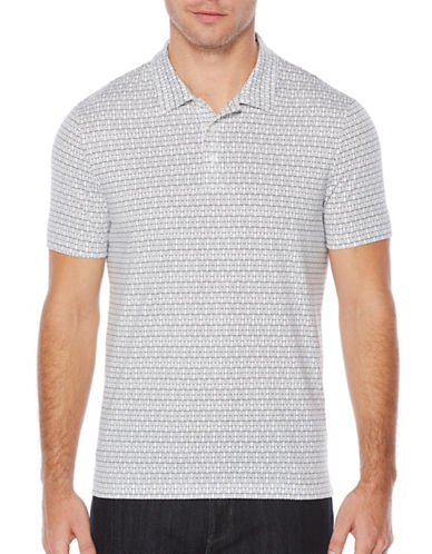 Perry Ellis Pima Printed Polo-WHITE-Small
