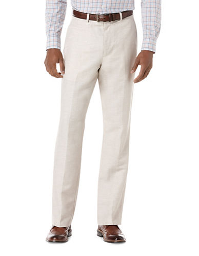Perry Ellis Big and Tall Linen-Cotton Herringbone Pants-BEIGE-50X32