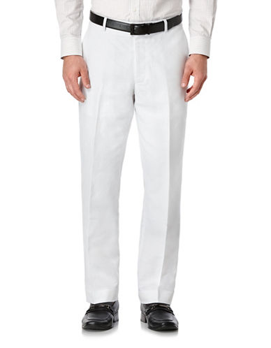 Perry Ellis Big and Tall Cotton Solid Flat Front Pants-WHITE-50X32