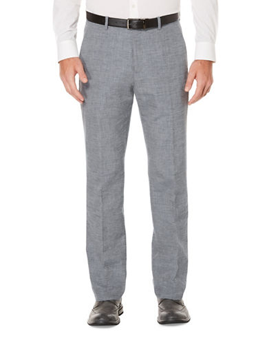 Perry Ellis Slim Fit Linen-Cotton End On End Flat Front Pants-GREY-32X32