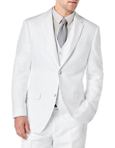 Perry Ellis Big and Tall Linen-Cotton Solid Jacket-WHITE-13X19