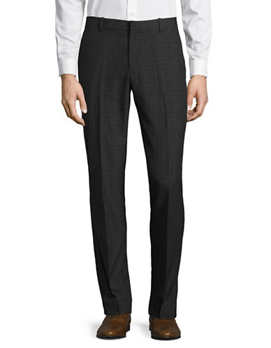 Perry Ellis Travel Luxe Slim-Fit Plaid Dress Pants-GREY-36X32