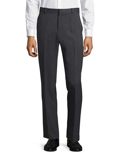 Perry Ellis Travel Luxe Slim-Fit Grid Dress Pants-GREY-34X32