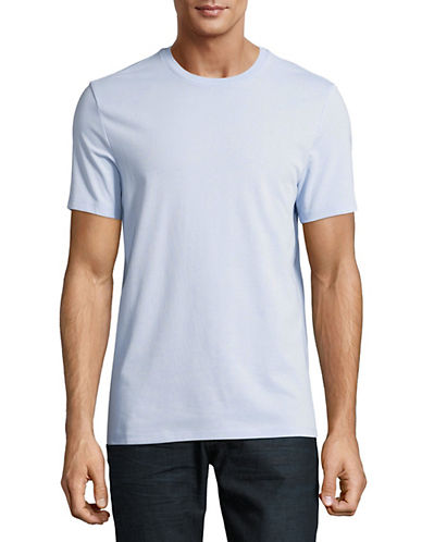 Perry Ellis Solid Pima Crew T-Shirt-BLUE-Medium