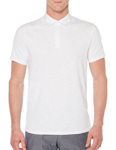Perry Ellis Slub Knit Polo-WHITE-X-Large