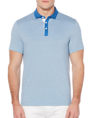 Perry Ellis Herringbone Polo Shirt-BLUE-X-Large