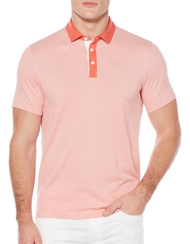 Perry Ellis Herringbone Polo Shirt-RED-X-Large