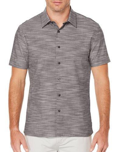 Perry Ellis Slub Knit Sport Shirt-GREY-Small