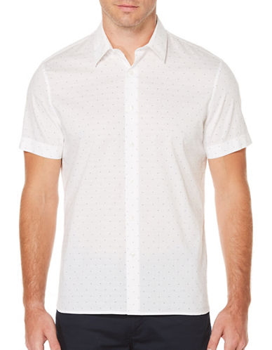 Perry Ellis Pin Dot Sport Shirt-WHITE-X-Large