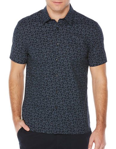 Perry Ellis Tessalated Sport Shirt-BLUE-Large