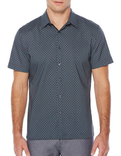 Perry Ellis Diamond Print Sport Shirt-BLUE-Small