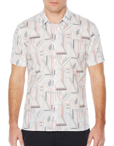 Perry Ellis Linear Print Sport Shirt-WHITE-Large