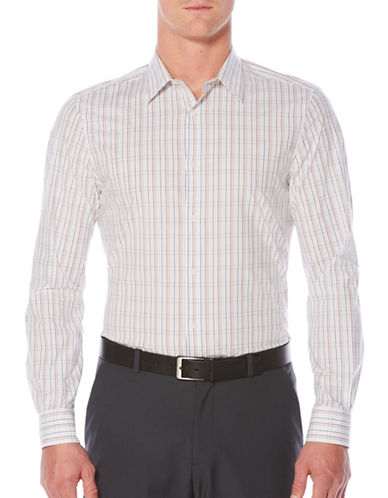Perry Ellis Regular-Fit Plaid Shirt-WHITE-Medium