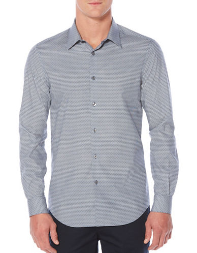Perry Ellis Tonal Striped Stitch Shirt-BLUE-X-Large