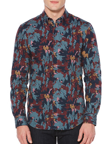 Perry Ellis Abstract Floral Sport Shirt-BLUE-X-Large
