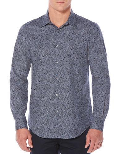 Perry Ellis Regular Fit Floral-Print Shirt-BLUE-Medium