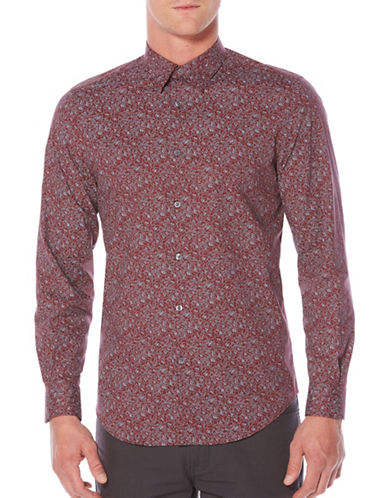 Perry Ellis Regular Fit Floral-Print Shirt-RED-Small