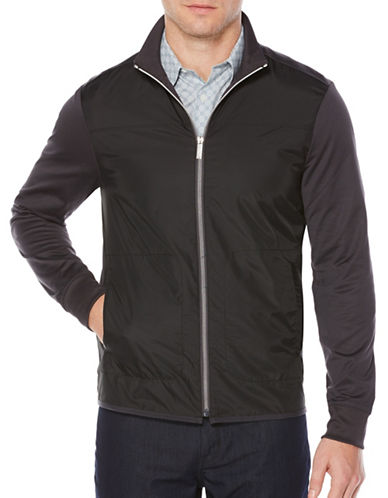Perry Ellis Full Zip Knit Jacket-GREY-Medium